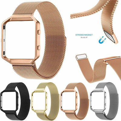 Milanese Magnetic Stainless Steel Wrist Watch Strap Band+Frame For Fitbit Blaze