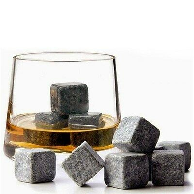 9 PCS Whiskey Stones Reusable Ice Stone Chilling Rocks Cubes With Carrying Pouch