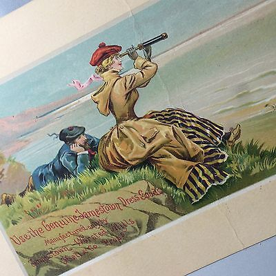 1880s JAMESTOWN WORSTED MILLS Dress Goods Victorian Advertising TRADE CARD SIGN