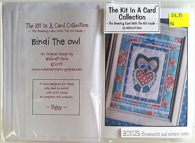 Kit In A Card Bindi The Owl Pre-Printed Embroidery / Stitchery Design Thread