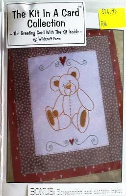 Kit In Card Old Ted Teddy Bear Pre-Printed Embroidery / Stitchery Design Thread