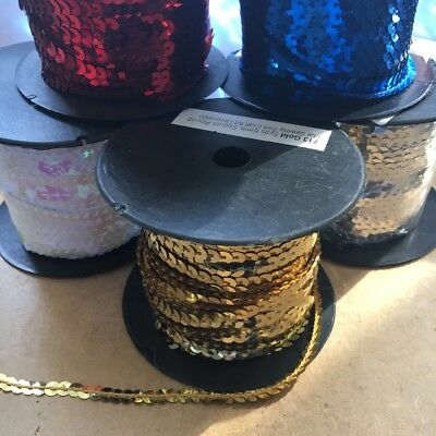 5yds 6mm Sequin Round Flat Sewing Trim Craft Art Decoration DIY #713
