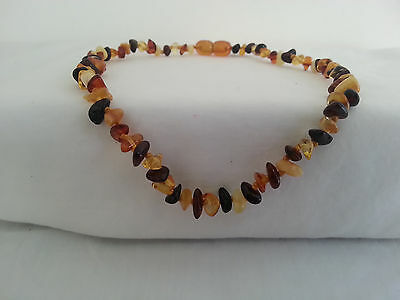 Baltic Amber Child Baby Necklace nuggets multicoloured w Cert. of Autheticity