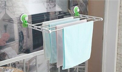 Strong Suction cups small Folding Laundry Drying Rack hanger attachable window