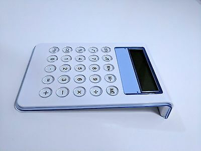 OFFICE STYLISH White Calculator MODERN Crystal Buttons SLEEK BLUE ACCENT 10 -DIG
