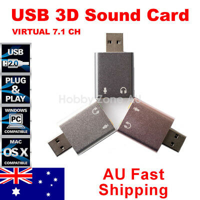 Aluminum USB 2.0 External Virtual 7.1 Channel Sound Card Audio Adapter Mac Linux