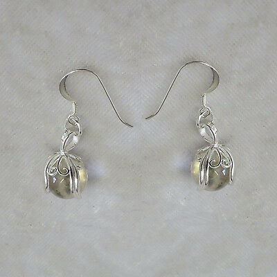 Sterling Silver earrings with clear quartz spheres  SS008