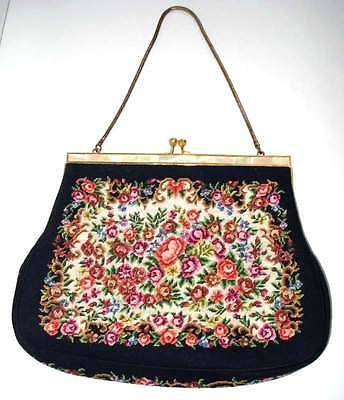 Vintage Lady's Canvas Evening Purse Floral Embroidery Mother-of-Pearl Kiss clasp