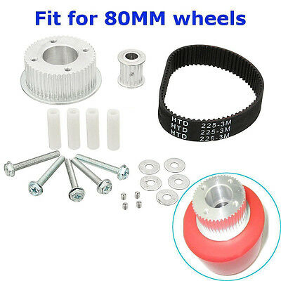 17pcs DIY Drive Kit Parts Pulley Motor Mount For 80MM Wheels Electric Skateboard