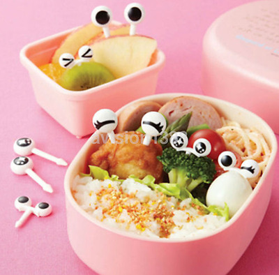 New 10x Cute Eye Mini Food Fruit Picks Baby Kid Forks Bento Lunch Box Tools US