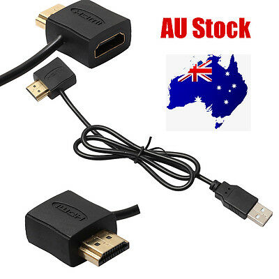 Convertor + USB 2.0 Male Charger Cable Splitter Adapter 50cm HDMI Male To Female