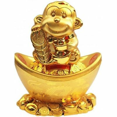 Feng Shui Lucky Monkey holding Gold coins and sitting on ingot Money Box