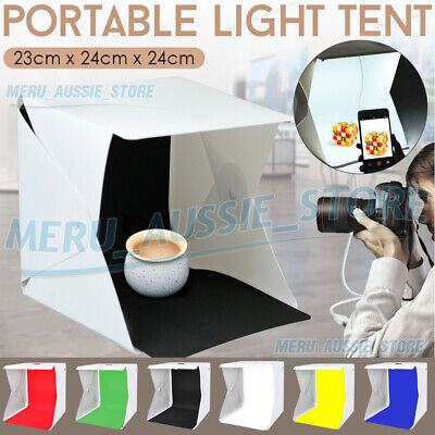 Photo Studio MINI LED Lighting Tent Kit Portable Folding Light Box 6pcs Backdrop