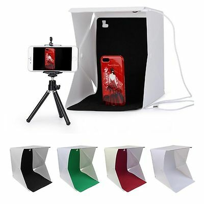 "9"" LED Light Room Photo Studio Photography Lighting Tent Kit Backdrop Cube Box"