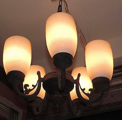 Rare Old Antique Art Deco Brass Hanging Light Lamp With Ceiling Mount [5 Light]
