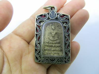 Holy Phra Somdej Buddha Amulet In Antique Ganesha Elephant Stainless Steel Case