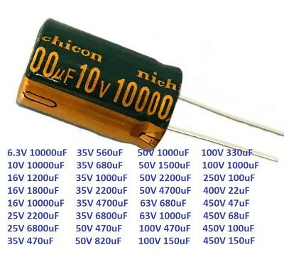 6.3V-450V Nichicon High Frequency Radial Electrolytic Capacitors 22uF-10000uF