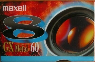 1 CASSETTE K7 CAMESCOPE 8MM MAXELL GX  METAL 60 MINUTES  neuf