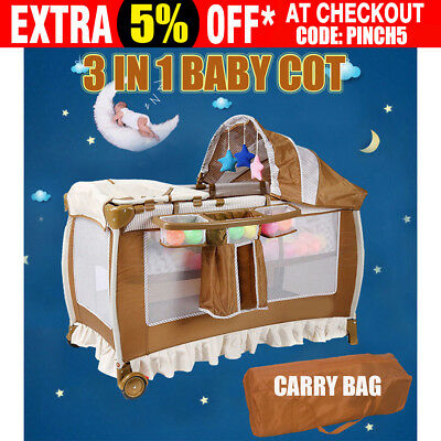 3 In 1 Deluxe Baby Portable Travel Cot Playpen Crib Bed Change Table Folding