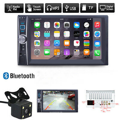 Car Stereo Audio Double 2DIN Bluetooth Touch MP3 Player USB FM Radio +Camera
