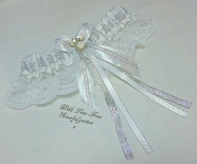 Minnie Silver & White Lace Bridal Wedding Garter.