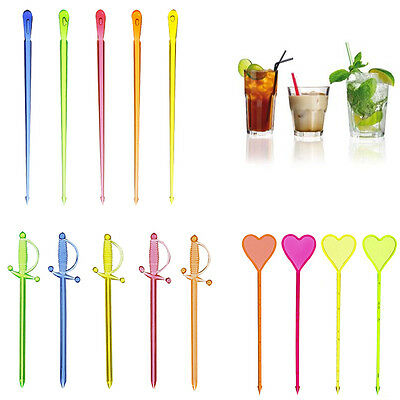 PAPSTAR Cocktail Party Picks Party Drink Stirrers Heart/Drop/Sword Plastic Stick