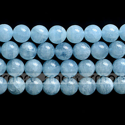 "3A Natural Aquamarine Gemstone Round Loose Beads 15.5"" Inches Strand"