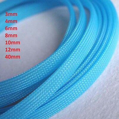 Fluorescent Blue 3mm-40mm Braided Cable Sleeving/Sheathing/Auto Wire Harnessing