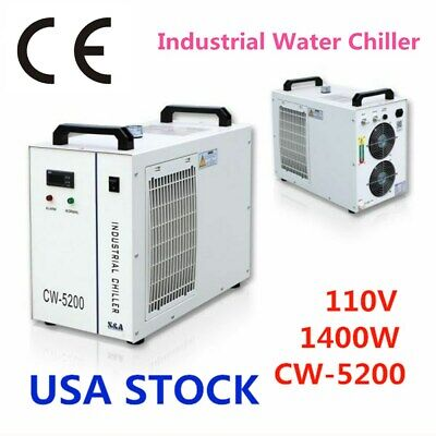 CW-5200DH Industrial Water Chiller for 8KW Spindle / 2 100W CO2 Tubes - US Stock