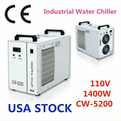 US - CW-5200DH Industrial Water Chiller for 8KW Spindle / 2 100W CO2 Tubes
