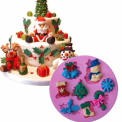3D Christmas Silicone Fondant Mould Cake Chocolate Baking Mold Sugarcraft Decor