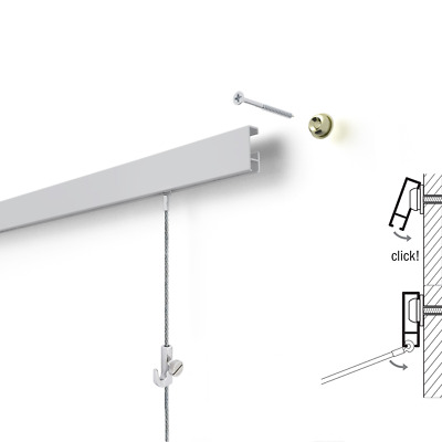 Picture Hanging Rail Click Art Hanging System 2 metres - A Complete Set