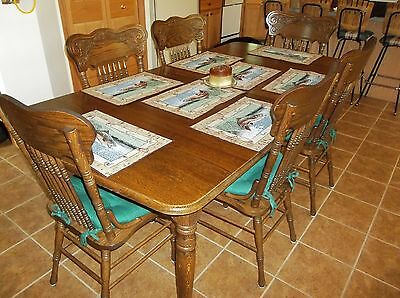 Vintage Oak Table 8 pc Set - 2 leaves, 6 Pressed Back Spindle Chairs and Hutch