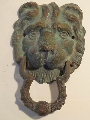 Antique Cast Metal Large Lion Head Door Knocker With Nice Patina