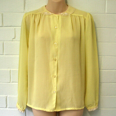Vintage 1970s Sheer Yellow Blouse Shirt Top Size 10 12 Circuit of Melbourne