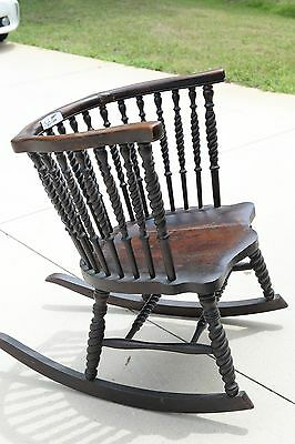 antique rocker, cane, highback