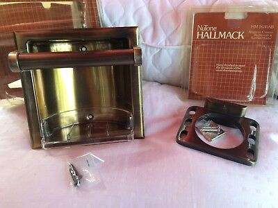 Hall Mack antique Brass Recessed Soap And Bar And Toothbrush & Tumbler Holder