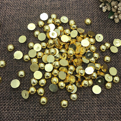 NEW DIY 12mm 20pcs Gold Half Round Pearl Bead Flat Back Scrapbook Embellishment
