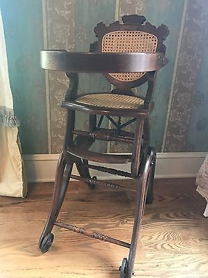 Antique Oak Folding Up and Down High Chair and Stroller
