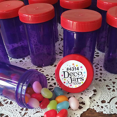 Red Hat Party Favor Jars 16 Purple Red CAPS Lids Screw top Plastic Container