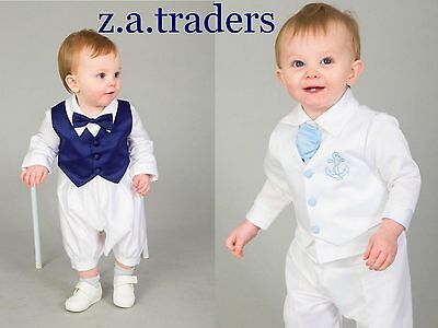 Baby Boy 3 Piece Christening Suit Light Blue Bowtie Waistcoat Romper & Navy Wais