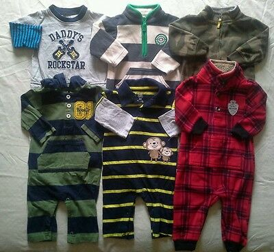 Boys 6 months Fall Winter clothes Carter's Rompers Outfits Clothing Lot!