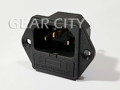 psk11 5x Gold IEC C14 Mains Power 250V 10A Fuse Inlet Chassis Socket Plug HiFi