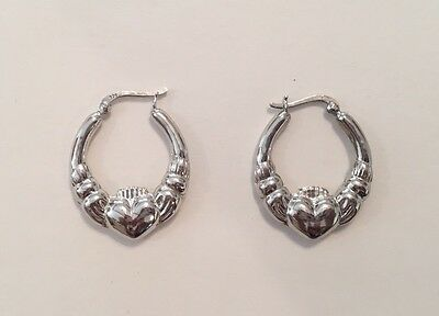 2fd5aedda Sterling Silver Puffy Claddagh Pierced Hoop Earrings 1.25 Inches Long Snap  Bars
