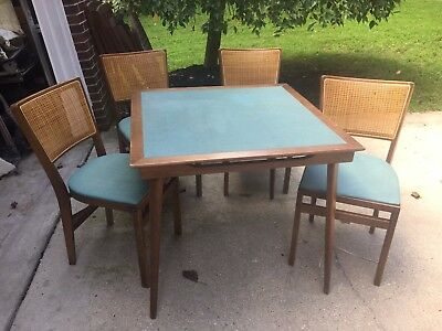 Vintage STAKMORE Mid-Century Wood & Vinyl 4 Folding Cane Chairs & Card Table Set