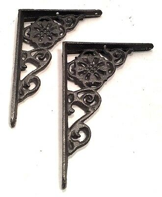 Shelf Brackets Architectural Cast Iron Delicate Filigree & Floral Vintage Style