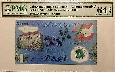 Lebanon 50,000 Livres Commemorative Issue Pmg 64Epq Uncirculated Banknote, P-96
