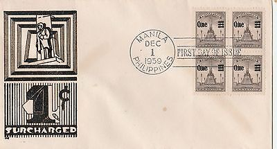 Brief Manila 1959 Surcharged First Day of Issue