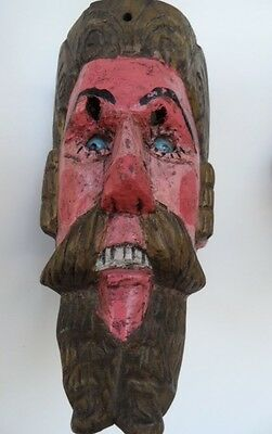 """Vintage Hand Carved Wood Mexican Folk Art """" Cristiano"""" (Chrisrian) Mask"""