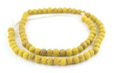 Yellow Ancient Style Java Glass Beads 9mm Indonesia Round Large Hole